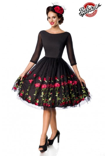 Premium rose embroidery prom vintage dress Belsira