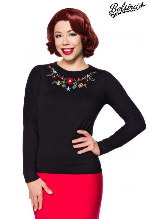 Elegant black vintage knitted floral embroidery pullover