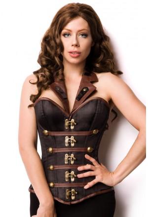 Wild neck holder brown faux steampunk corset