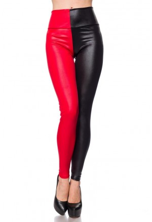 Two tone wetlook leggings