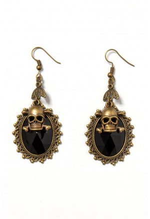 Baroque skull gold earrings