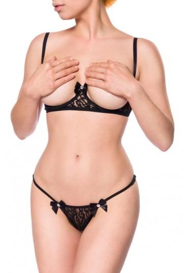 Seductive BH set with cupless bra