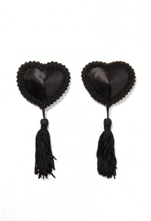 Provocative black heart nipple patches tassle covers