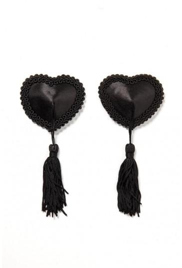 Čierne nálepky na bradavky srdiečka
