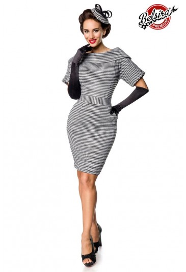 Retro pencil dress with houndstooth pattern