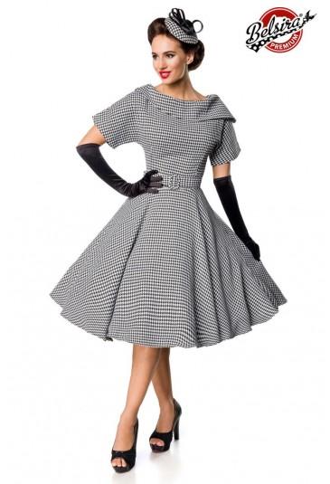 Vkusné retro pepitkové šaty so širokou sukňou