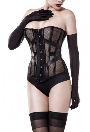 Glamour set of black mesh corset with gloves