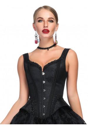 Čierny viktoriánsky korzet s hrubými ramienkami