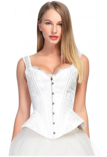 Biely viktoriánsky korzet s hrubými ramienkami