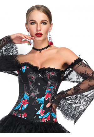 Black Floral Print Overbust Corset with Long Floral Lace Sleeve