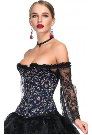 Blue Floral Print Overbust Corset with Long Floral Lace Sleeve