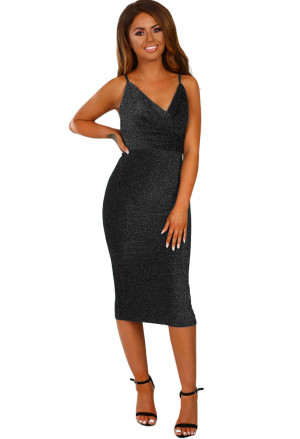 Lurex Cowl Neck Bodycon Midi Dress
