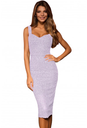 Lurex Sleeveless Glitter Midi Dress