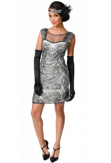 Art deco trblietavé spoločenské šaty v štýle Veľký Gatsby