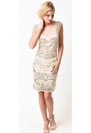 d5a151cc4ad4 Art deco trblietavé spoločenské šaty v štýle Veľký Gatsby