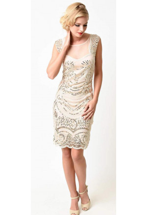 Vintage 1920s Sequin Art Deco Great Gatsby Dress