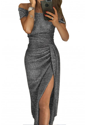 Trendy metallic glitter off shoulder party dress