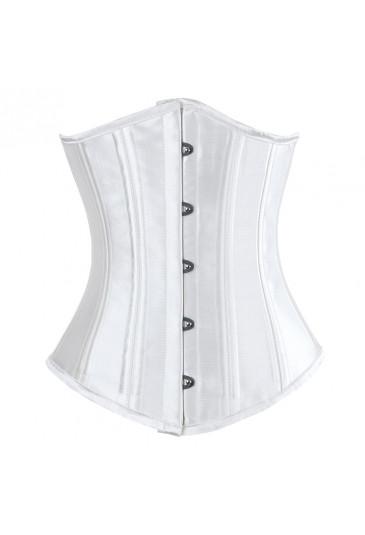 Pevný sťahujúci biely korzet pod prsia na pás