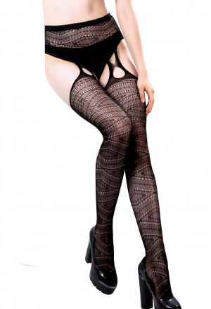 Black Net Multi Weave Pantyhose