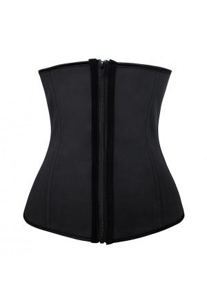 Fashion Black Latex 4 Steel Boned Waist Training Cincher Underbust Corset with Zipper