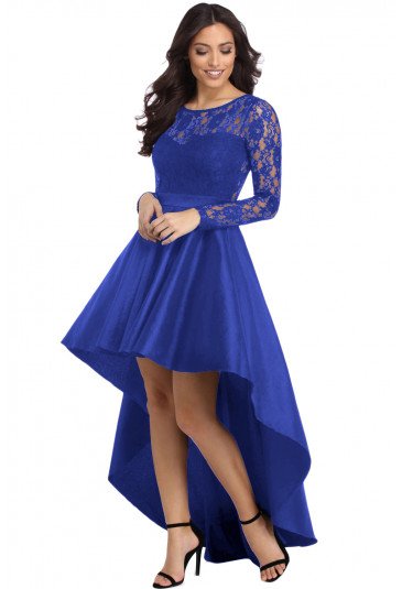 Blue Long Sleeve Lace High Low Satin Prom Dress