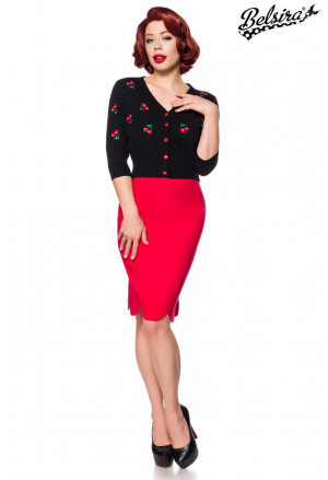 Retro pencil chic red skirt