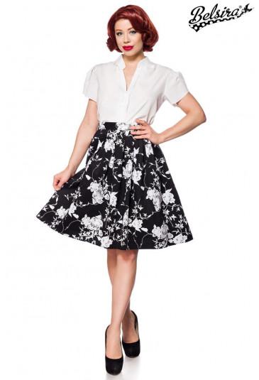 bb11d32efd08 Široká čiernobiela retro sukňa Belsira - SELECTAFASHION.COM