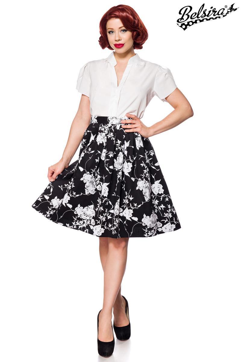 f0807f7c5 Široká čiernobiela retro sukňa Belsira - SELECTAFASHION.COM