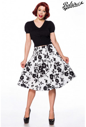 Wide A line floral monochrome skirt