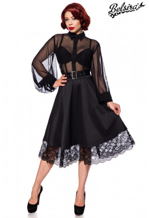 Black wide vintage gothic laced skirt