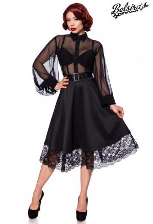 Vintage čierna gotická sukňa s krajkou