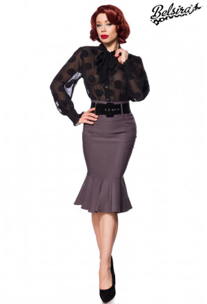 Grey pencil flared midi skirt by Belsira