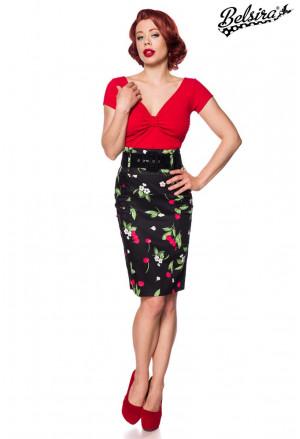 Fascinujúca úzka retro sukňa Čerešne