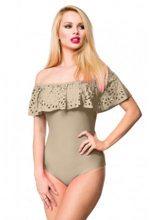 Flounce Off Shoulder One Piece Swimsuit