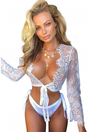 White Long Sleeve Lace Crop Top with Panty