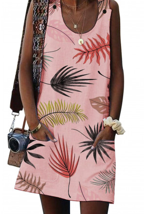 Pink Bohemian Printed Drawstring Sleeveless Dress