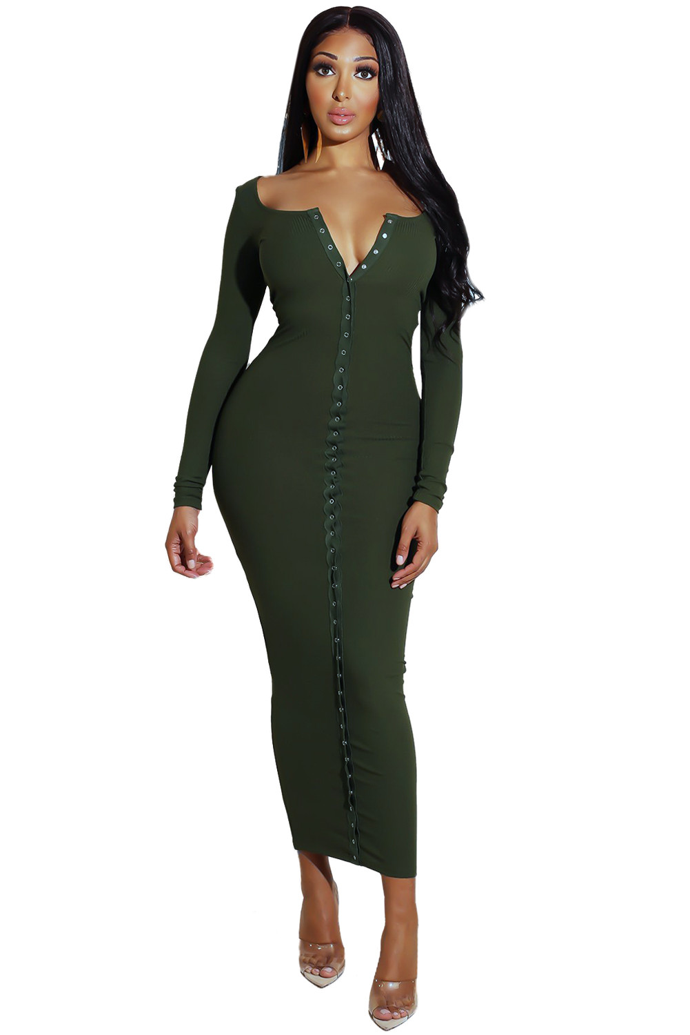 6a466ac164 Green Long Sleeve Snap Button Ribbed Dress - SELECTAFASHION ...