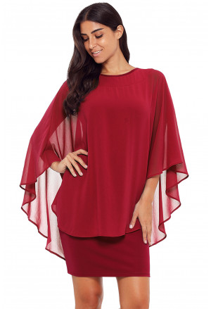 Slinky Sexy Gauze Cape Mini Dress