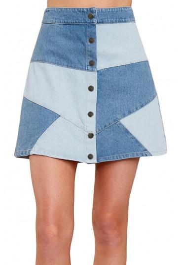 fbcb174aef65 Výrazná patchwork rifľová sukňa - SELECTAFASHION.COM