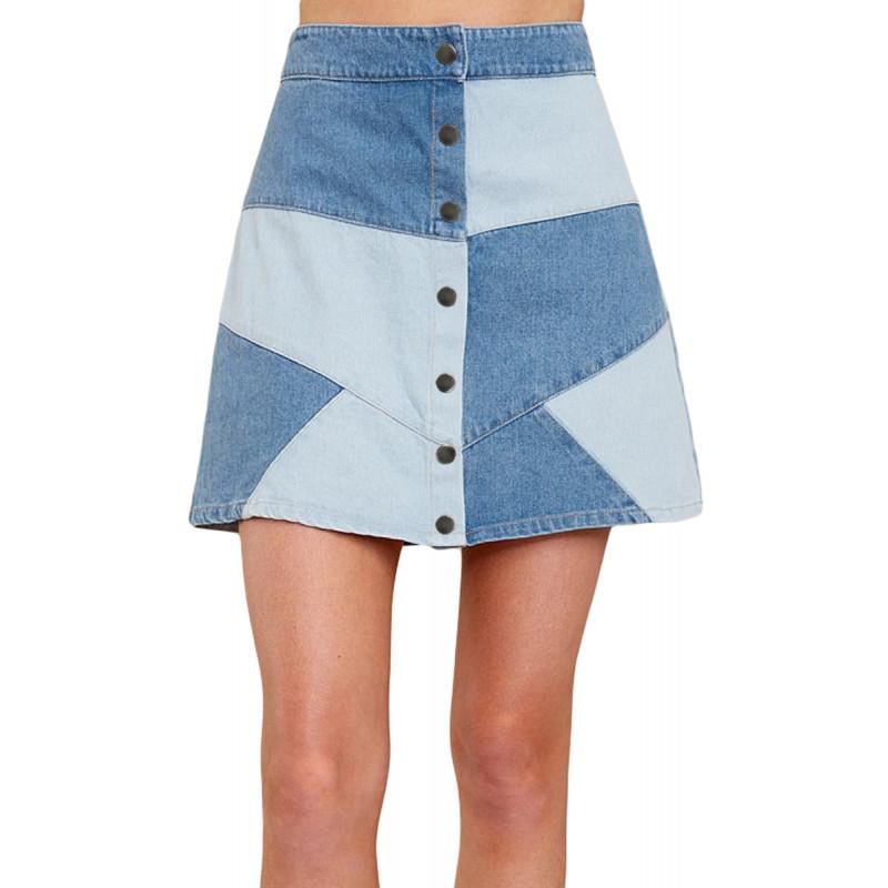 626ecb004e3c Výrazná patchwork rifľová sukňa - SELECTAFASHION.COM