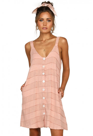 Pink Buttoned Loose Fit Summer Slip Dress