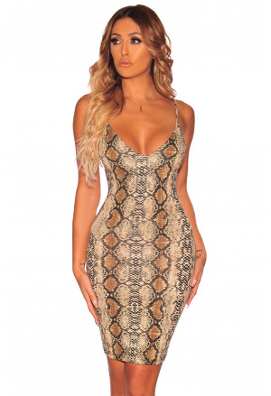 Multicolor Snake Print Spaghetti Straps Dress