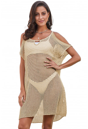 Light knitted summer fishnet beach dress