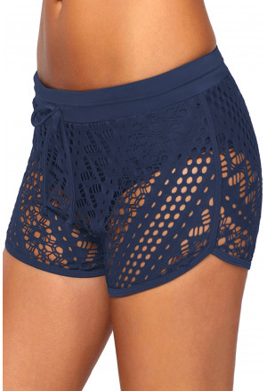 Hollow Out Lace Overlay Swim Short Bottom