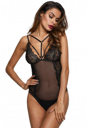 Black Cage Strappy Lace Bodysuit