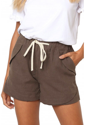 Summer cotton shorts with drawstring