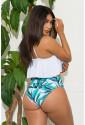 White Ruffle Top High Waist Bottom Bikini Swimsuit