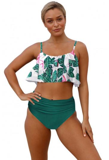 Green Leaf Ruffle Top High Waist Bikini Swimsuit