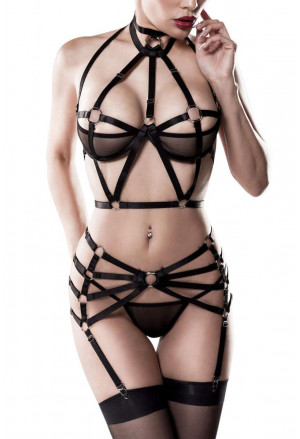 3-piece Harness Lingerie Set by Grey Velvet