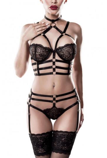 2-piece glamour harness lingerie set by Grey Velvet